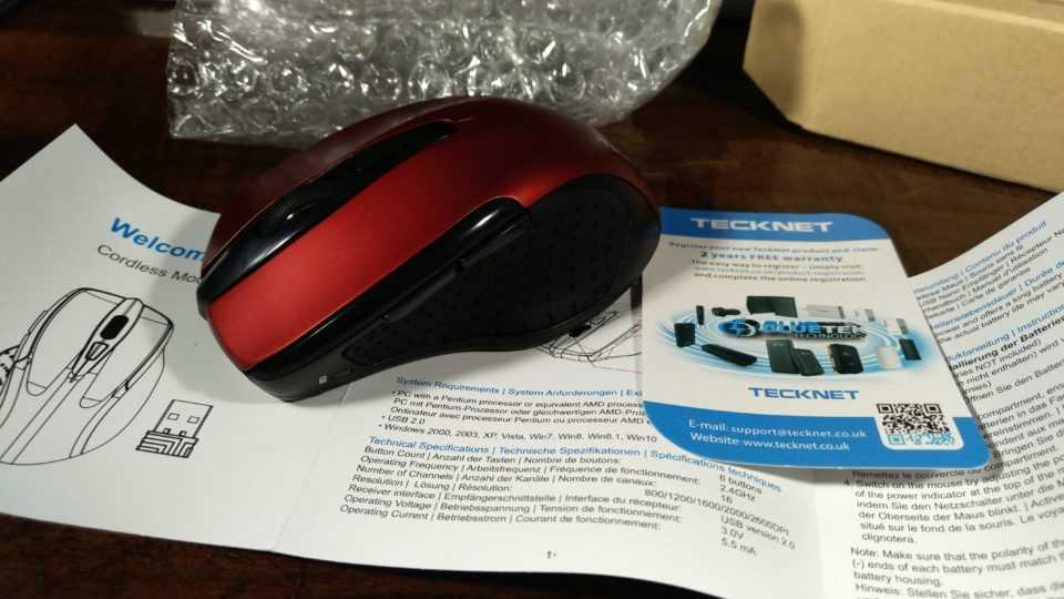Комплектация беспроводной мыши Tecknet M003